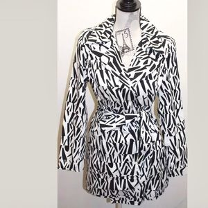 Luii Women Geo Print Trench Coat Black/white M